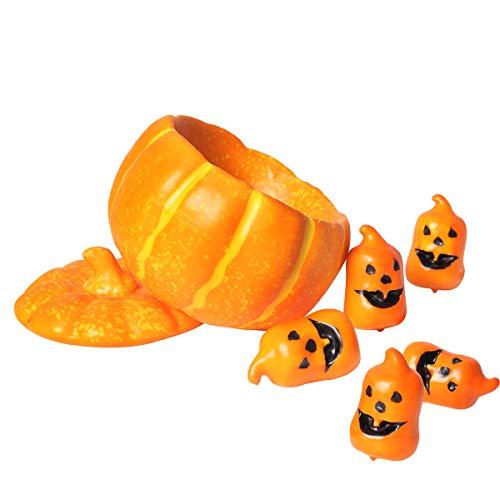 Floralsecret 6' Decorative Pumpkin Dish with Lid, 5 PCS Small Artificial Pumpkin Fall Harvest Thanksgiving Decor(Yellow)