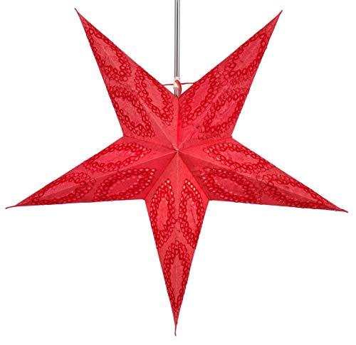 Guru-Shop Faltbarer Advents Leucht Papierstern, Weihnachtsstern 60 cm - Munos Rot, Star Fensterdeko, 5 Spitzen