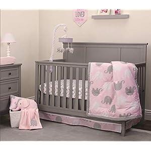 NoJo Elephant 4 Piece Nursery Crib Bedding Set, Pink/Grey/White, Elephant Pink/Grey – 4pc