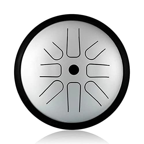 WZHZJ 6 Pulgadas 8 Tones CD Clave de Acero Lengua Tambor Agudos Suplemento de batería Profesionales de música Actuaciones Caja de Regalo Instrumentos de percusión (Color : Silver, Size : C Key)