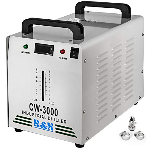 VEVOR Industrieller Wasserkühler CW-3000AG CO2 Laser Rohrkühler 9 L Wasserkühler 50 W 220 V zum Kühlen von CO2-Glaslaserröhre 10L / Min