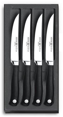 WÜSTHOF Steakmessersatz, 4-teilig, Grand Prix II (9625) 4 Steakmesser mit 12 cm Klinge, Fleischmesser, Edelstahl, geschmiedet, sehr scharf