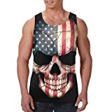 American Flag Skull Head USA Men's Tank Tops Cool Summer Sleeveless T-Shirts Workout Fitness Vest Athletic Undershirts