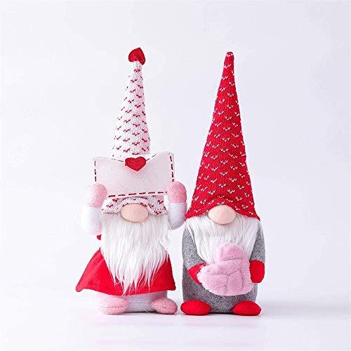 Elxf Gnomo de barba hecho a mano sueca de Navidad, Papá Noel, muñeco de felpa, figuras de Navidad, decoración de mesa, regalo de San Valentín, 2 unidades