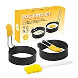 A-XINTONG 2PCS Nonstick Stainless Steel Fried Egg Shaper Pancake Mold Kitchen Utensil for Creative Breakfast Frying Egg Ring Omelette Mold Cooking Tools Kitchen Accessories Gadget