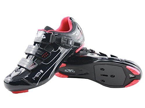 Raiko Sportswear HP2 Fahrradschuhe SPD-SL/Look Rennrad Ratschen-/Klettverschluss schwarz Größe 42