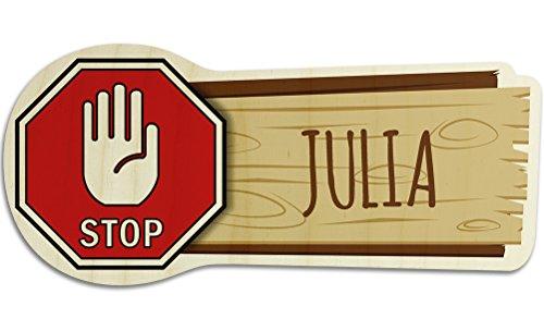 printplanet Türschild aus Holz mit Namen Julia - Motiv Stopschild mit Hand - Namensschild, Holzschild, Kinderzimmer-Schild