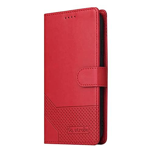 Miagon Retro Brieftasche Hülle für Samsung Galaxy Note 20,PU Leder Stoßfeste Schutzhülle mit Kartenfächer Magnetisches Flip Handyhülle,Rot