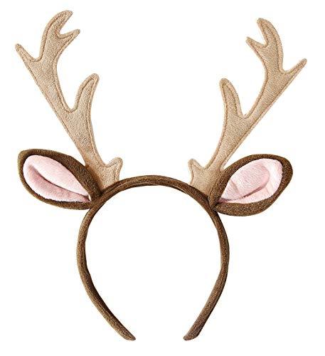 shoperama Diadema de tela suave con cuernos y orejas para REH, renos, bambi, ciervo, cervatillo, cervatillo, accesorio de disfraz