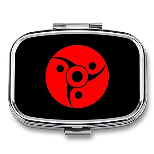 Naruto Sharingan (5) Pastillero pequeño, pastillero portátil para viajes, multi-compartimiento con espejo, dispensador semanal de medicamentos de vitaminas.