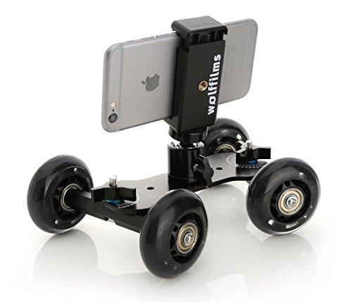 Wolffilms Camrover Mini Kamerawagen kompatibel mit Apple iPhone, Samsung Galaxy und Huawei Dolly Slider