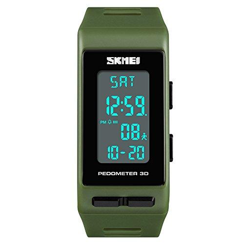 FeiWen Multifunktional Outdoor Sport Digital Uhren für Herren und Damen Schrittzähler Kalorie LED Plastik Running Armbanduhren mit Kautschuk Band Alarm Datum Unisex (Grün)