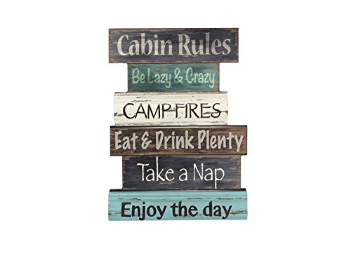 Young's Wood Cabin Rule Wall Sign, 15.5""