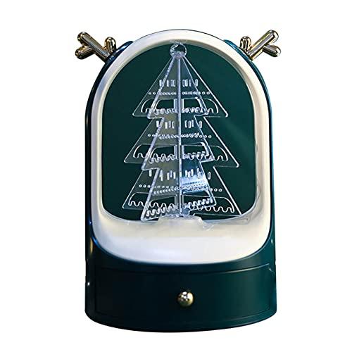 Camidy Soporte de Árbol de Exhibición de Joyería Soporte Colgante Ewelry Giratorio 360 Estante Organizador de Árbol de Navidad con Cajón de Almacenamiento para Pulseras de Pendientes