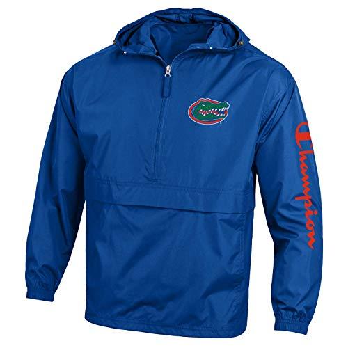 Champion NCAA Mens NCAA Men's Half Zip Packable Hooded Wind Jacket-Florida Gators-Royal-Large