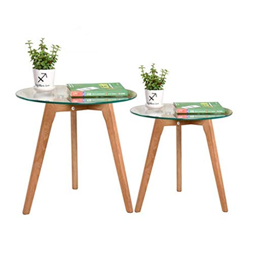YUDIAN Coffee Table Side Tables Tempered Glass Side Table Solid Wood Legs Coffee Side Living Room Bedroom Sofa Coffee Table