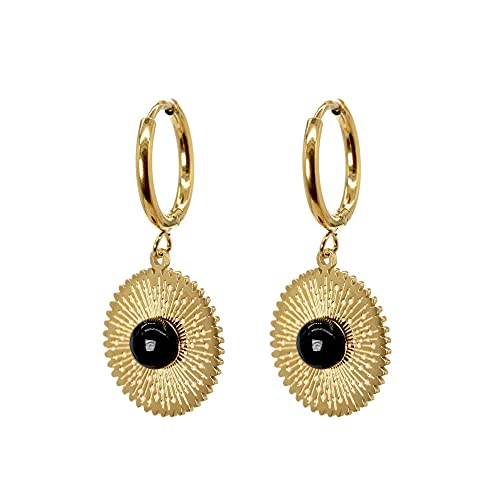 Afrodeti Pendientes de aro de oro de gota de ágata negra geométrica linda para niña y mujer