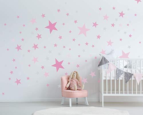 75 Sterne Wandtattoo fürs Kinderzimmer - Wandsticker Set - Pastell Farben, Baby Sternenhimmel zum Kleben Wandaufkleber Sticker Wanddeko - Wandfolie, Kleinkinder, Erstausstattung auf Rauhfaser Pink