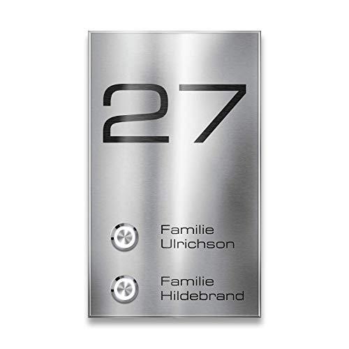Metzler Funk-Klingel Edelstahl - 2-fach Taster - Mehrfamilienhäuser - mit Gravur-Service - 200m Reichweite - Aufputz-Montage