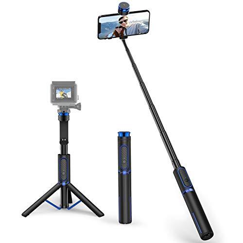ATUMTEK Bluetooth Selfiestick Stativ mit Schraubbefestigung, 4 in 1 Aluminium Selfie Stick mit Drahtloser Fernbedienung für iPhone 12/X/XS/8/7 Plus, Samsung, GoPro, Osmo Action, Selfie Light und Mehr