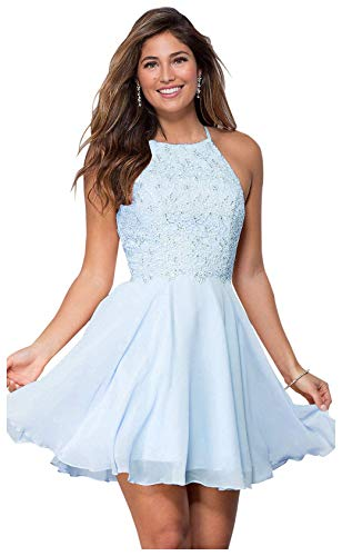 Women's Halter Spaghetti Strap Beaded Chiffon Lace Evening Gown Short Prom Dresses Bady Blue Size 14