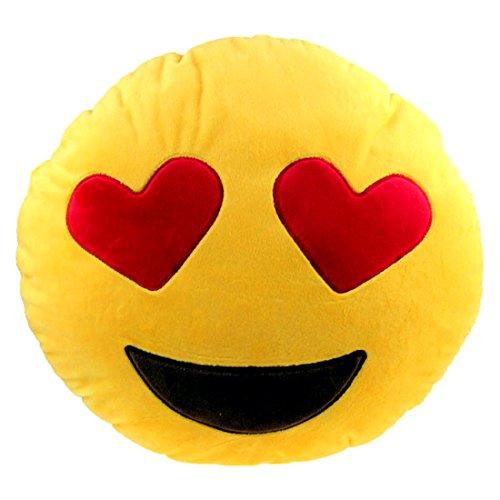 Brigamo 510 - EMOTICON KISSEN AUS PLÜSCH, 30 cm Durchmesser,Smiley Kissen mit diversen Motive zum sammeln (Emoticon mit Herzaugen)
