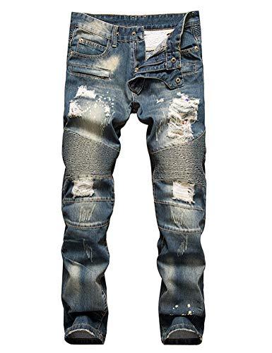 IDEALSANXUN Men's Ripped Biker Skinny Jeans Junior Slim Straight Leg Moto Denim Pants (40, Light Blue)