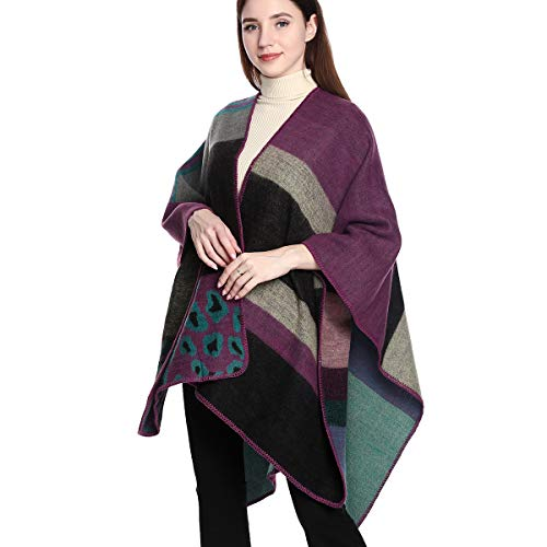 DoFiyeng Damen Poncho Schal Wrap Farbblock Open Front Cape Schal Wrap Cardigan Coat(Serie lila)
