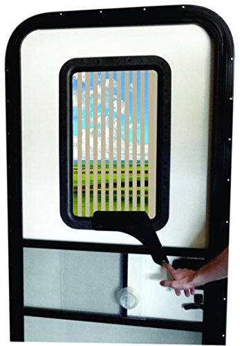 rv window covers RV Door Window CloZures Shade, Controls Sun Glare, Privacy, Outside View by Moving fingertip Lever, Without Opening Screen Door. Kit Includes Clear Glass to Replace Frosted Glass. (Light Beige)
