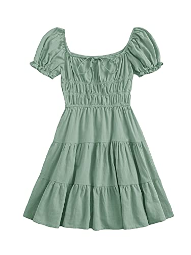 SheIn Women's Short Puff Sleeve Ruched Mini A Line Dress Ruffle Tie Front Square Neck Short Dresses Mint Green Medium