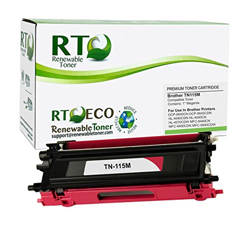 Renewable Toner Compatible Cartridge Replacement for Brother TN-115M TN-115 DCP-9040 DCP-9045 HL-4040 HL-4040 HL-4070 MFC-9440 MFC-9450 MFC-9840 (Magenta)