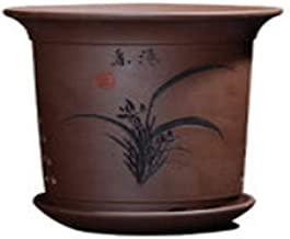 LJBH Flower pots, creative flower pots, pots with drain holes, Purple sand pots with trays.(brown) Exquisite workmanship, sturdy and durable