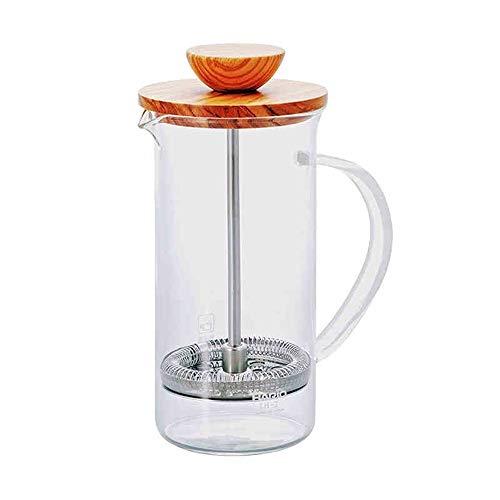 Französische Presse Kaffeemaschine Französisch Olivenholz Hand gebrühter Kaffee-Maschine Professionelle kaltes Gebräu Französisch gebrühter Kaffee Einfach zu verwenden ( Farbe : Glass , Size : 300ml )