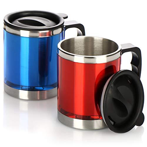 com-four® 2-teiliges Set Iso-Kaffeebecher, 300 ml Reisebecher mit Henkel und Schwappschutzdeckel, Trinkbecher in modernen Farben für den Kaffee unterwegs
