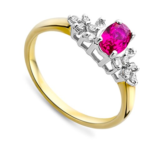 Miore Women's 9ct Yellow Gold 0.10ct Diamond and Ruby Ring SA956R- Size O