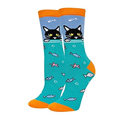 HAPPYPOP Women Girls' Sea Animal Socks, Gift for Shark Whale Otter Lover