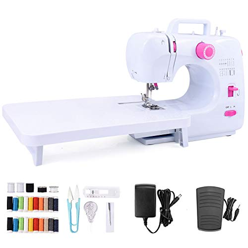 Suteck Mini Sewing Machine for Beginners Portable Electric Sewing Machines with Extension Table, with Shared 20 Thread Spools