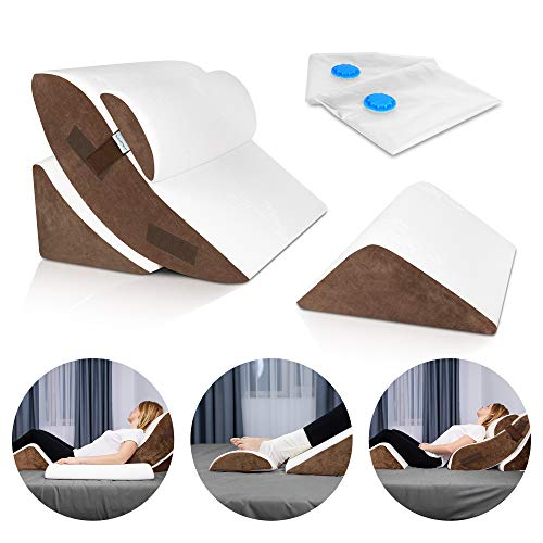 Lunix LX5 4pcs Orthopedic Bed Wedge Pillow Set, Post Surgery Memory Foam for Back, Neck and Leg Pain Relief. Sitting Pillow, Comfortable and Adjustable Pillows Acid Reflux and GERD for Sleeping Brown