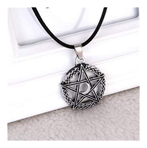 1 PCS Penta Baum des Lebens Mond Halskette Halbmond-Seil-Ketten Schutz Star Goddess Magische Amulett Schmuck Übernatürliche Geschenk (Color : Antique Silver, Size : 50cm)