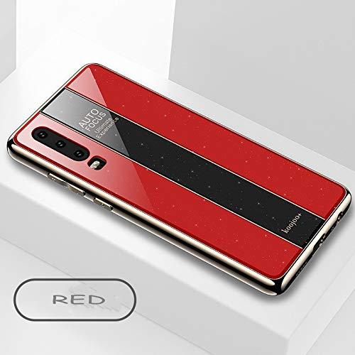 BELLA BEAR Glitter Case voor Huawei P30 plexiglas + vergulde zachte rubberen aansteker en meer anti-val telefoonhoesje voor Huawei P30, Huawei P30, Rood