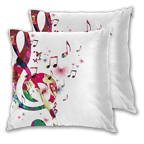 FOURFOOL 2pcs Fundas de Cojín,Música Nota Musical Abstracta Colorida con Mariposa voladora Arte Creativo en Acuarela,Cuadrado Suave Funda de Almohada Decorativa Sofá Sillas Cama para Hogar,45x45cm