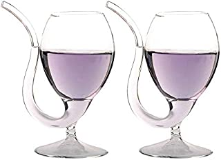 LOHOME 2 Pack Creative Vampire Filter Red Wine Glass, Clear Juice Cup, Goblet With Drinking Tube Straw High Gorosilicate Glass Wine Decanter (300ml/10oz) (2)