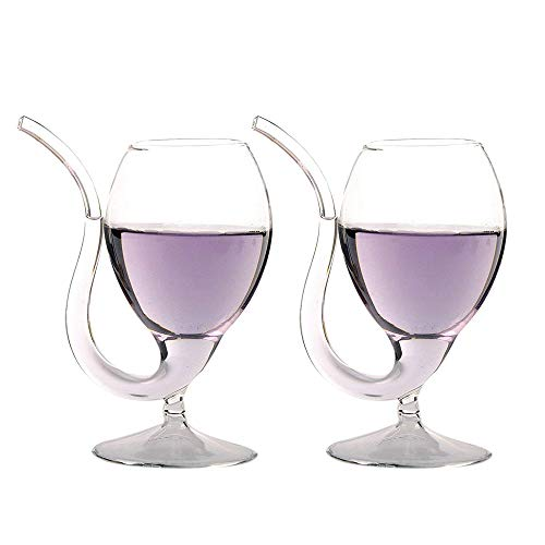 LOHOME 2 Pack Creative Vampire Filter Red Wine Glass Clear Juice Cup Goblet With Drinking Tube Straw High Gorosilicate Glass Wine Decanter 300ml10oz 2