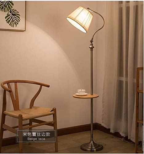 LQBDJPYS American Style Iron Floor Lamp With Tray Table Creative Simple Living Room Reading Light Decoration light (Color : Beige)