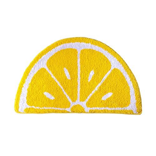 WINLIFE Kitchen Door Mat Yellow Semicircle Fruit Lemon Mat Non Slip Water Absorption Rug for...