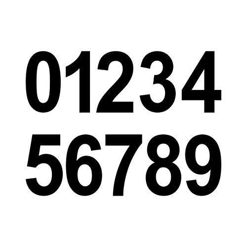GreenIT 20 Stück 5cm schwarz Ziffer Ziffern Zahl Zahlen Nummer Hausnummer Aufkleber die Cut Tattoo Deko Folie