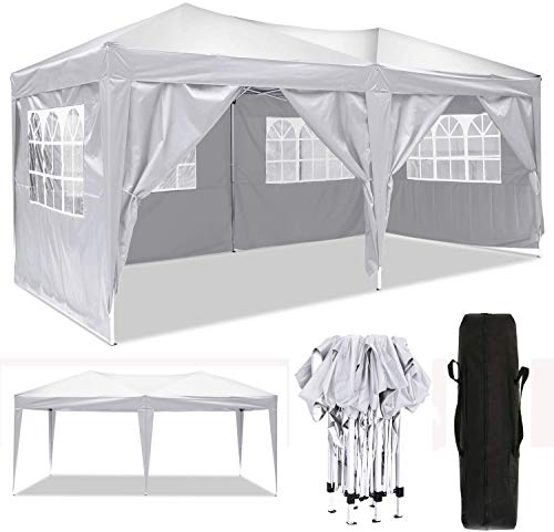 Oppikle 3x3m /3x6m Garden Gazebo Marquee Tent with Side Panels, Fully Waterproof, Powder Coated Steel Frame for Outdoor Wedding Garden Party (3 * 6/m White)