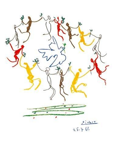 Kunstdruck / Poster Pablo Picasso - La Ronde de la Jeunesse - 1961 - 60 x 80cm - Premiumqualität - Klassische Moderne, Zeichnung, Taube, Friedenstaube, Ölzweig, Tänzer, Reigen, Kreis, Ge.. - MADE IN GERMANY - ART-GALERIE-SHOPde