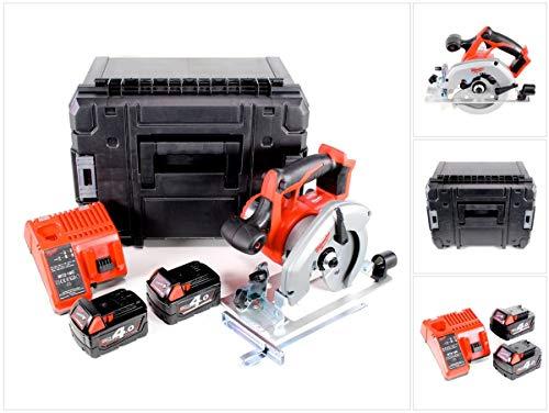 Milwaukee HD 18 CS - 401 18 V 165 mm accu handcirkelzaag in Stanley TSTAK Box + 2 x M18 B4 4,0 Ah accu + M12-18C oplader