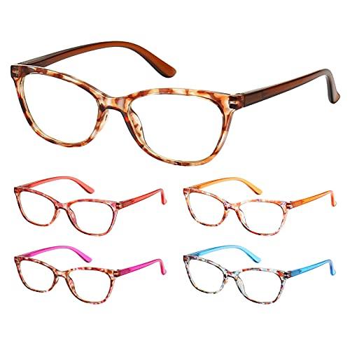 BLS - Juego de 5 gafas de lectura con bloqueo de luz azul, para lectores de ordenador, antirayos UV, fatiga ocular, deslumbramiento, para mujeres, Paquete de 5 unidades., M